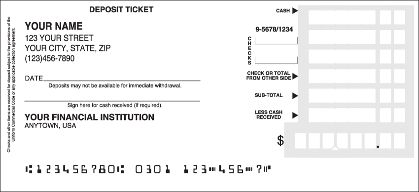 Personal Deposit Tickets - click to view larger image