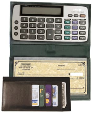 Black Bi-fold Checkbook Calculator – click to view product detail page