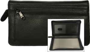 Black Zippered Leather Checkbook Organizer – click to view product detail page