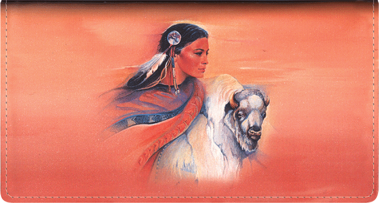 American Indians Leather Checkbook Cover - click to view larger image