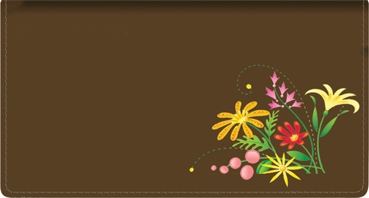 American Wildflowers Leather Checkbook Cover - click to view larger image