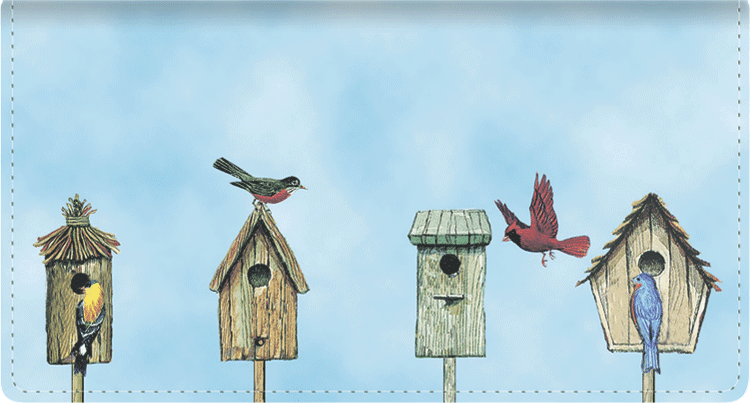 Backyard Birds Leather Checkbook Cover - click to view larger image
