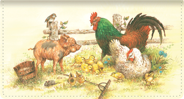 Barnyard Babies Leather Checkbook Cover - click to view larger image