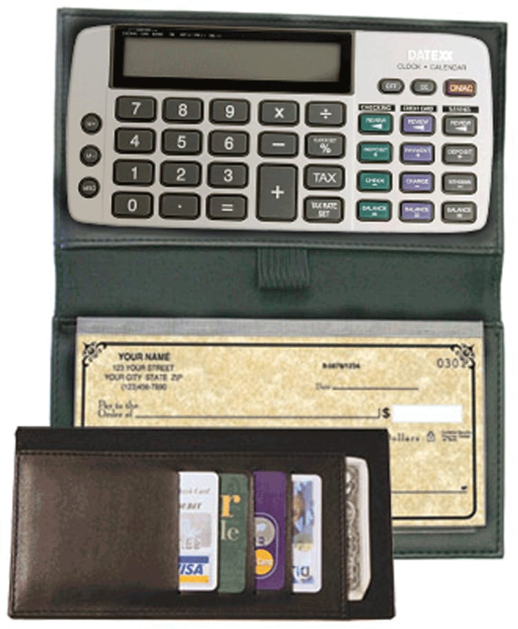 Black Bi-fold Checkbook Calculator - click to view larger image