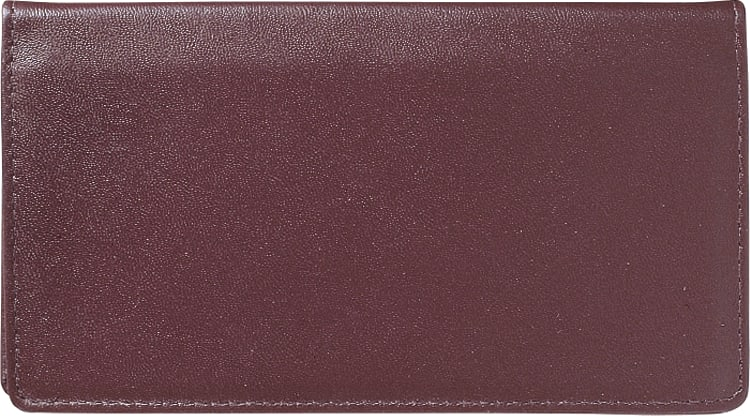 Burgundy Leather Checkbook Cover - click to view larger image