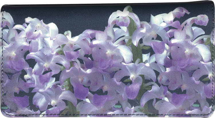 Enlarged view of Orchids Fabric Checkbook Cover