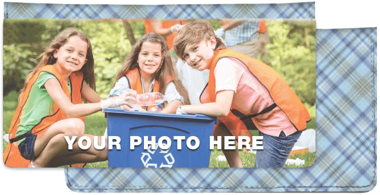 Photo Checkbook Cover - Blue Plaid - click to view larger image