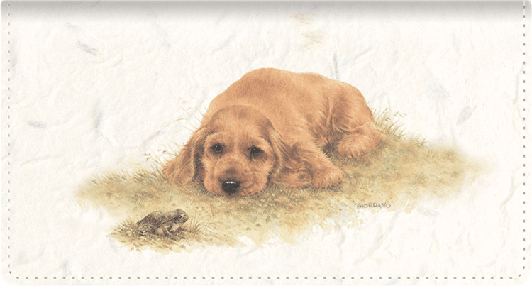 Puppies Fabric Checkbook Cover - click to view larger image