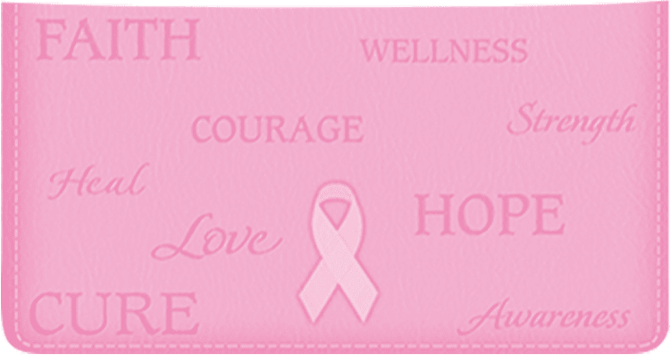 Ribbon of Hope Leather Checkbook Cover