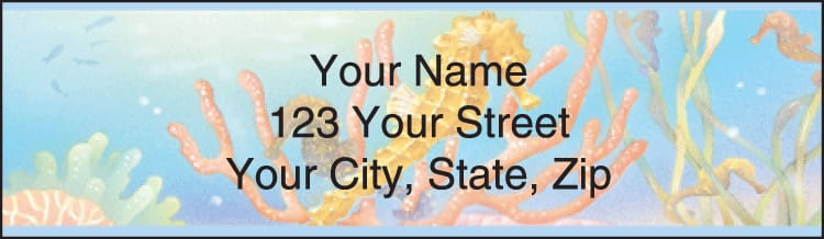 tropical reef address labels - click to preview