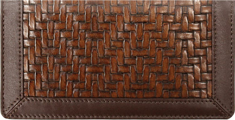 Woven Style Leather Checkbook Cover