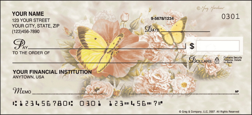 Butterfly Blooms Checks - click to view larger image