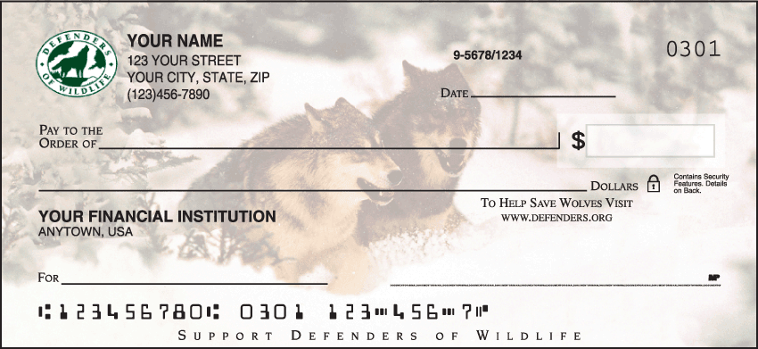 Defenders of Wildlife - Wolves Checks - click to view larger image