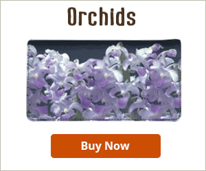 Orchids Fabric Checkbook Cover