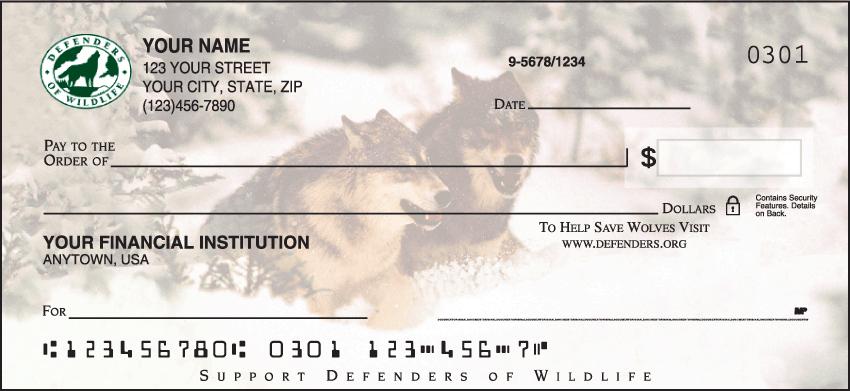 Defenders of Wildlife - Wolves Checks - 1 box - Duplicates